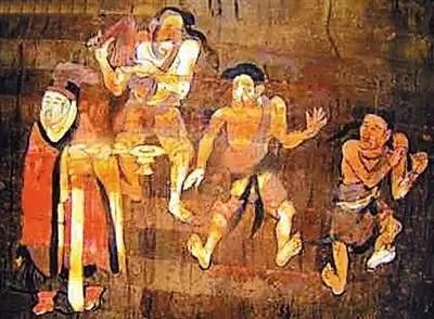 宋代墓壁画-滑稽戏