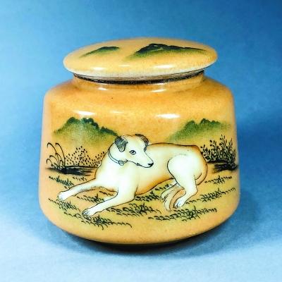 清代郎世宁手绘名犬图珐琅彩瓷器