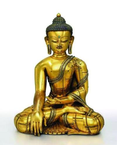 揉合尼泊尔风格与西藏本土特色的鎏金铜嵌银释迦牟尼佛坐像