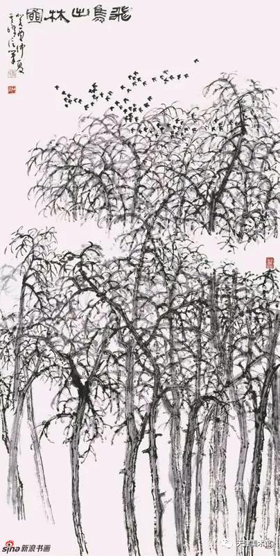 孙其峰 | 飞鸟出林图 138cm×68cm