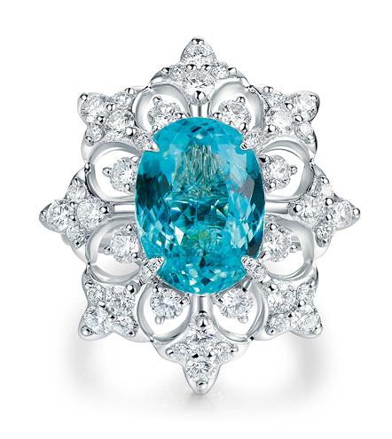 Kelly Xie Fine Jewelry 18K白金镶嵌帕拉伊巴碧玺戒指