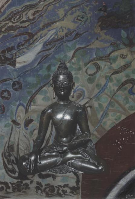 米巧铭佛像系列 盛世华佛 99cmx145cm 布面油画 2017