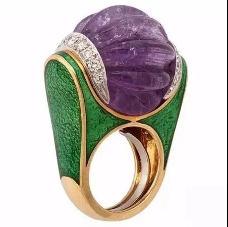 David Webb Fluted Amethyst Ring