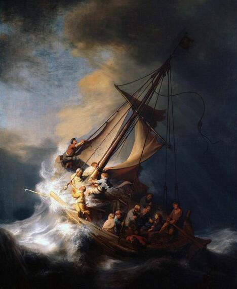 林布兰《加利利海上的暴风雨》。图 取自Wikipedia。