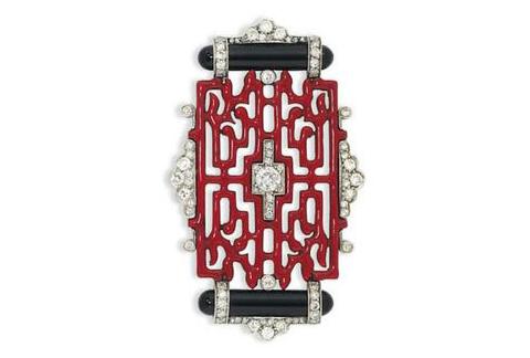 卡地亚珐琅钻石黑玛瑙胸针