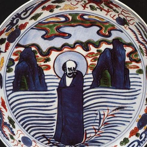 明万历景德镇窑青花五彩达摩人物纹盘,现藏于土耳其托普卡比宫