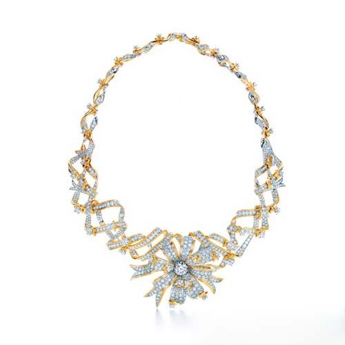Ribbon Rosette铂金和18k黄金镶钻缎带项链