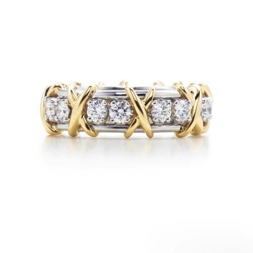 Sixteen Stone系列铂金和18K黄金镶钻戒指