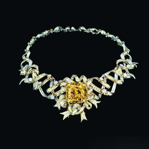 Ribbon Rosette铂金和18k黄金镶Tiffany Diamond蒂芙尼黄钻缎带项链