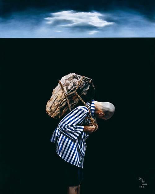 那危 《独生系列-石头》布面油画250x200cm 2008