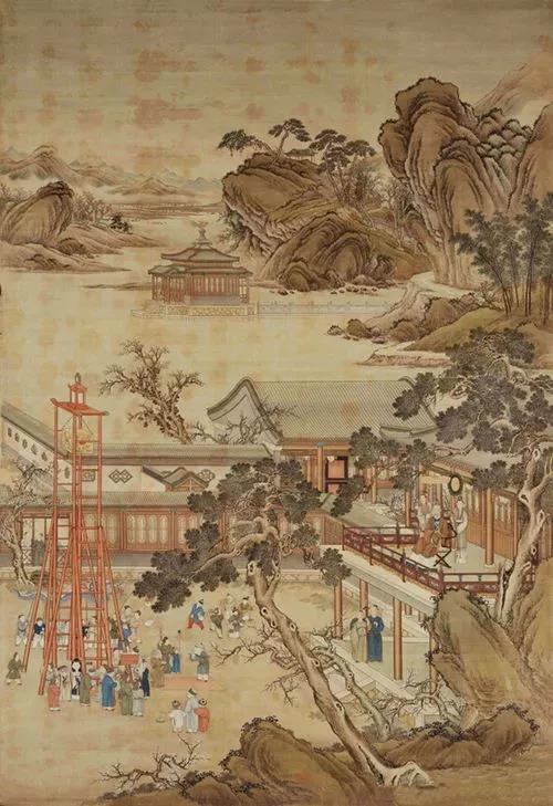 清《乾隆元宵行乐图》,绢本设色,302×204.3cm