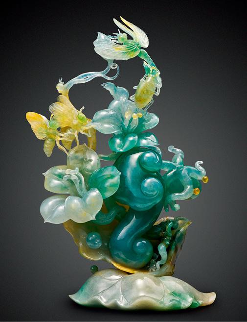 翡翠摆件《如意花开》 ,与健兴利合作的台湾玉雕大师叶金龙作品
