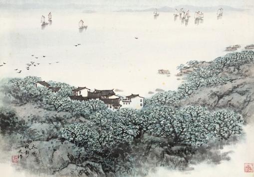 宋文治 太湖帆影 纸本 镜心 35×49 cm
