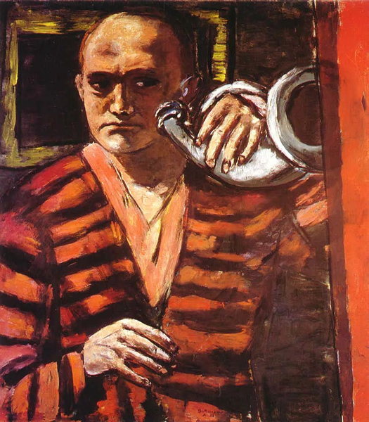 《吹号的自画像》(Self-Portrait with Horn),Max Beckmann,布面油画,1938年