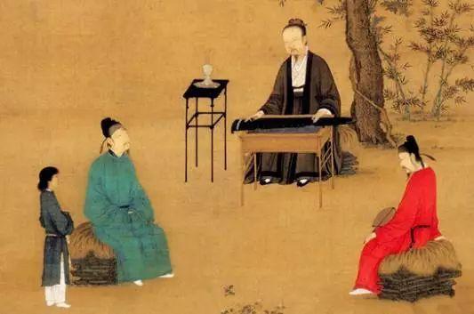 宋徽宗绘《听琴图》,中间弹琴者为宋徽宗,坐在右侧听琴者为蔡京