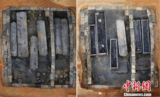 拼图:左图为墓室正射影像图,右图为棺盖打开后正射影像图。(江西省文物考古研究院 供图)