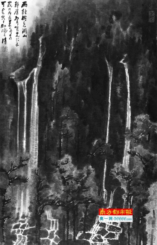 李可染《山静瀑生喧》,92.5x58.5cm,1988年。
