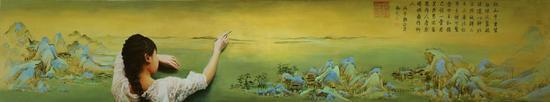 《千里江山图》局部(国画) 51.5cmX1191.5厘米 北宋 王希孟 北京故宫博物院藏