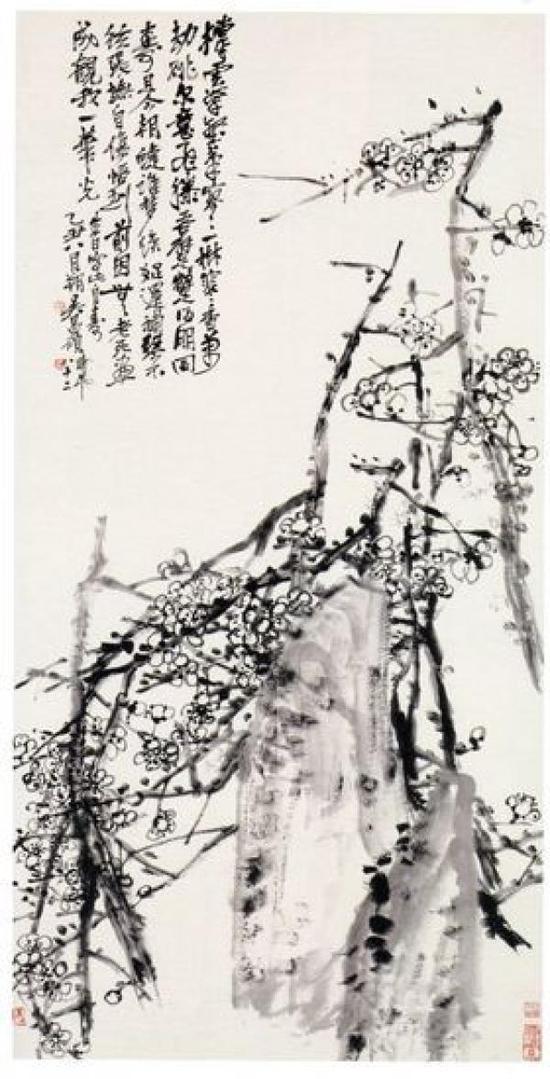 日本东京国立博物馆收藏的吴昌硕《墨梅图》即来自于青山杉雨