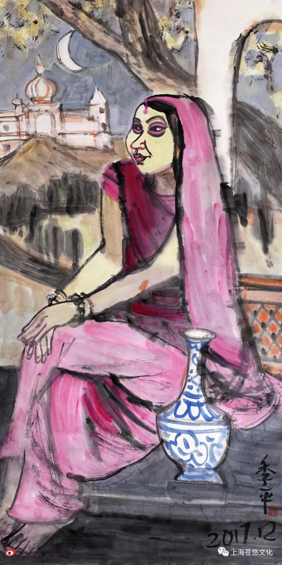 《印度少女》纸本水墨138x70cm