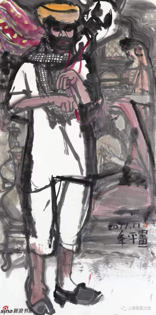 《演奏塔布拉乐器艺人》纸本水墨138x70cm
