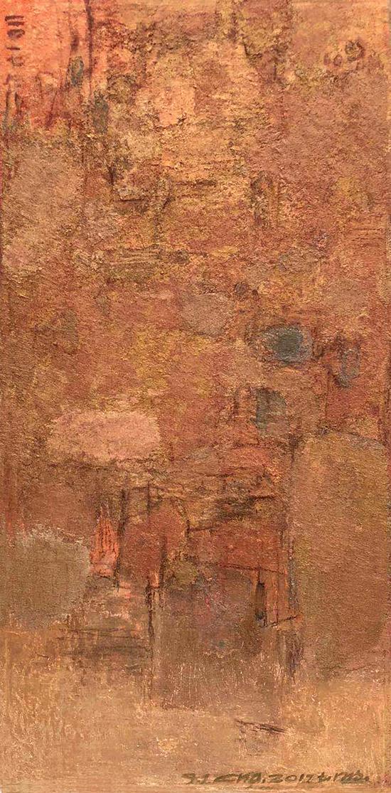 查国钧 作品 混沌世界系列-2018(金色)综合材料 135X76cm