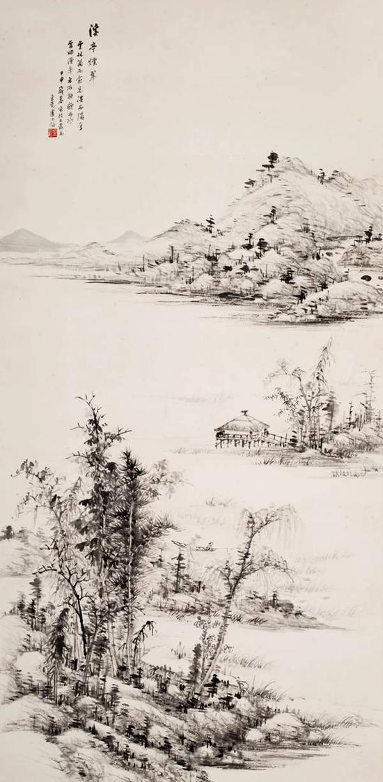 卢子枢 山水   水墨纸本 立轴   130×63cm