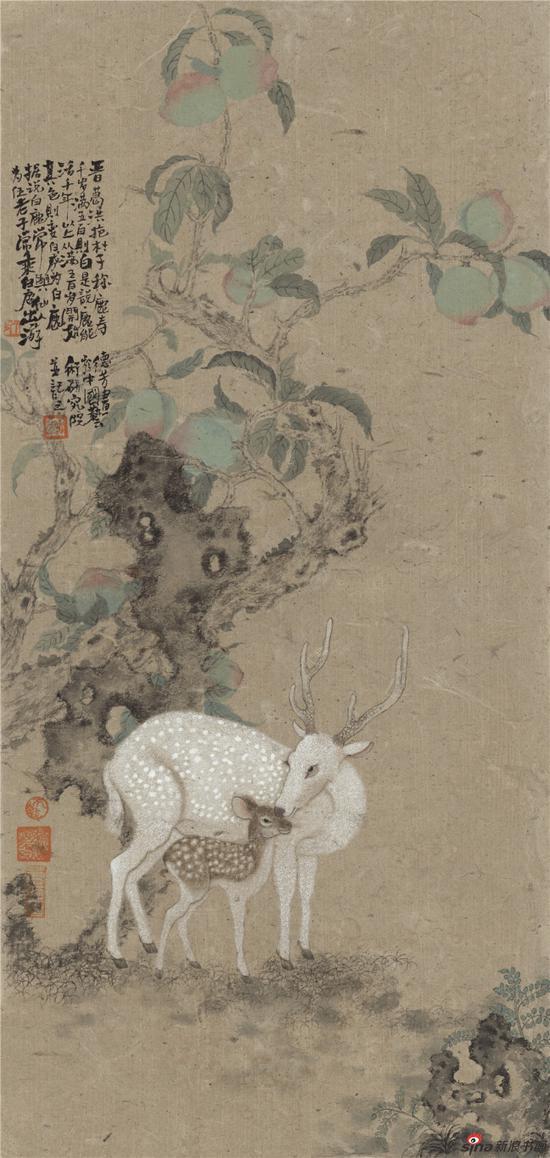 白鹿图 68cm×33cm