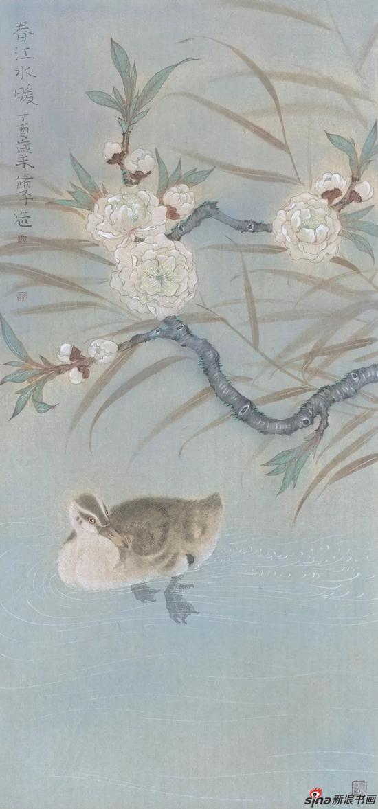 《春江水暖》 纸本设色 69cmX34cm 2017年