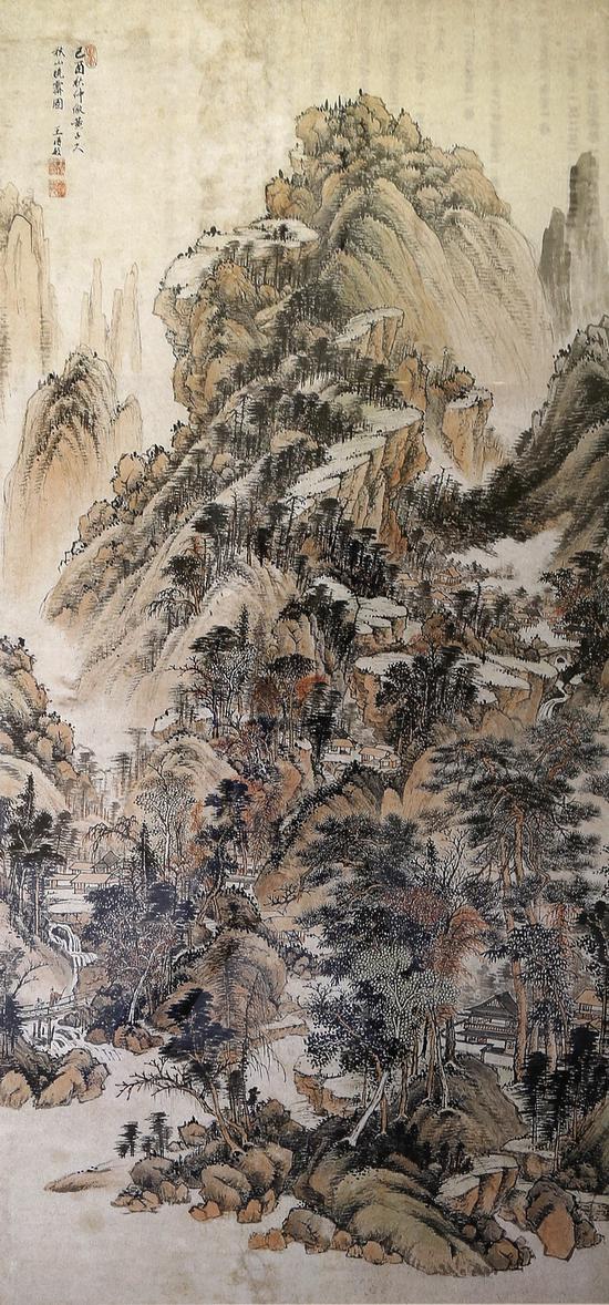 过云楼所藏的名画《秋山晓霁图》,清·王时敏作,172.2×82.8(厘米),顾氏后人捐赠苏州博物馆