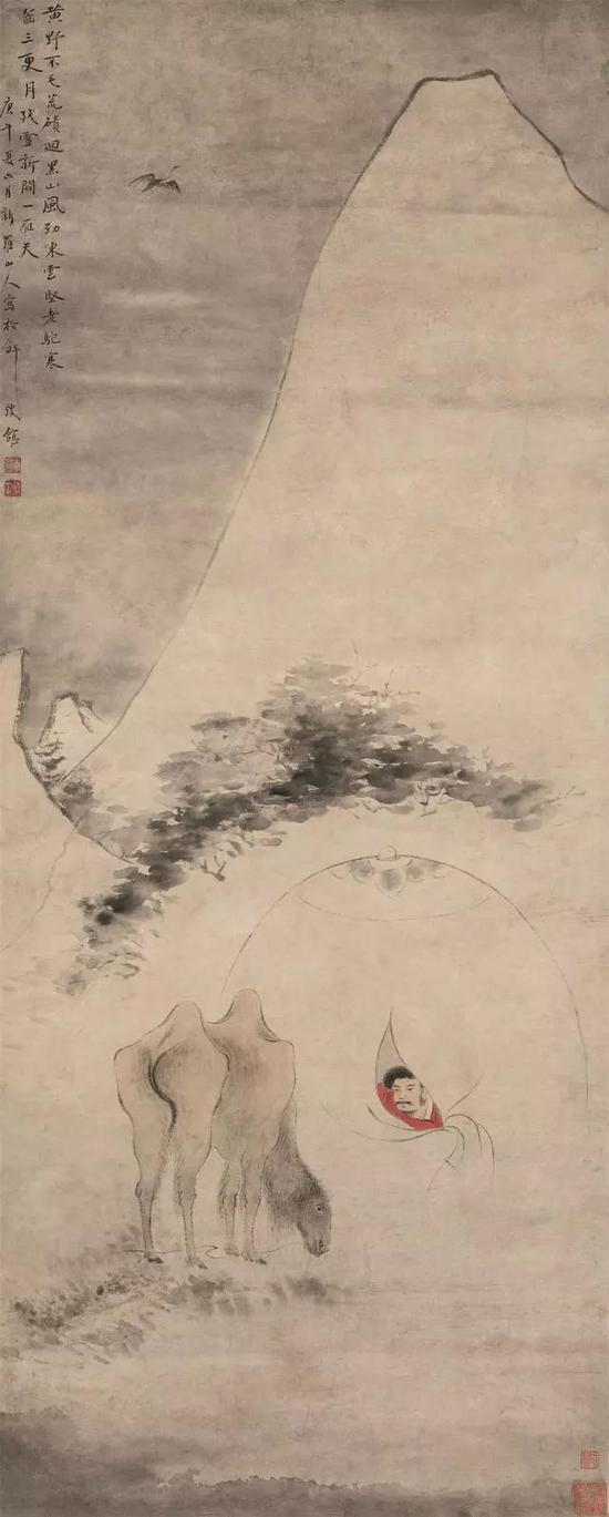 华喦《雪驼残雪图》轴,纸本设色,纵128cm  横50.5cm