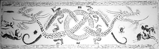 青岛汉画像砖博物馆122×38 X04二龙穿璧·仙人驾虎·骑射