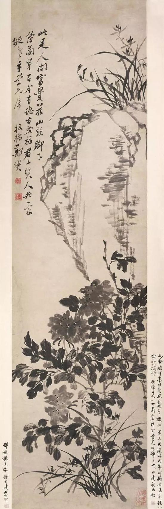郑燮 《牡丹兰花图》轴,纸本水墨,纵189cm 横49.6cm