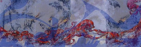 那危 《红潮图》布面油画、绢本中国水墨(四屏) 116x364cm 2016