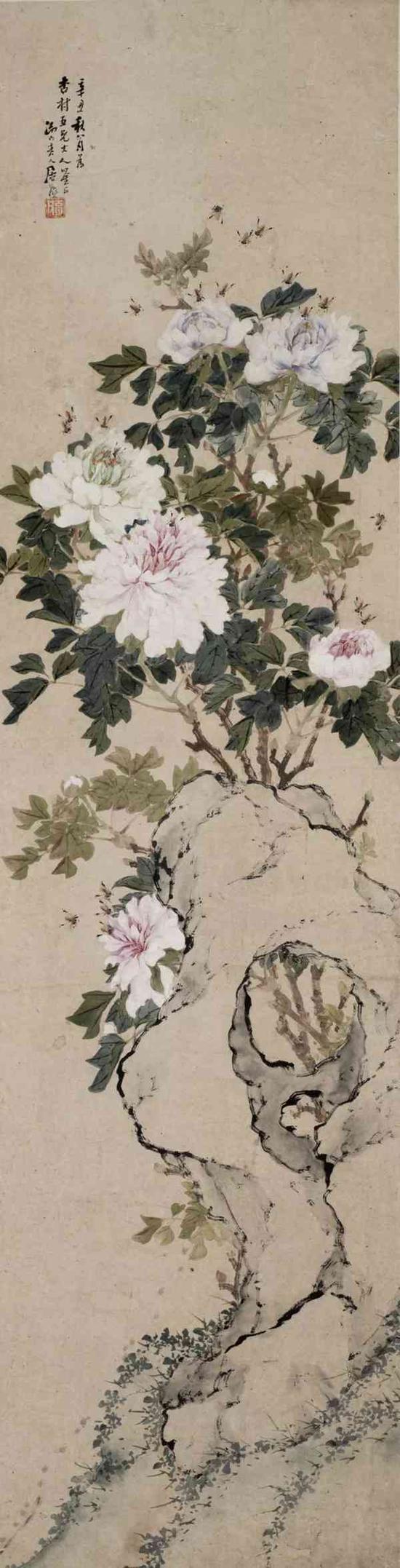 居廉 牡丹蜜蜂   设色纸本 立轴   128.5×33cm