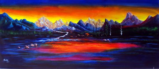 黄建南 油画 《无限风光》180x80cm