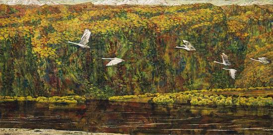 黑龙江金秋、1978年、麻布油画、82X165cm 1981四人作品联展