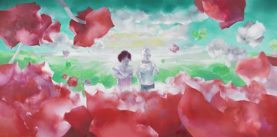 罗发辉/ Luo Fahui|<阳光下的花朵/The flowers under the sun>|400x200cm|布面油画/Oil on Canvas|2017