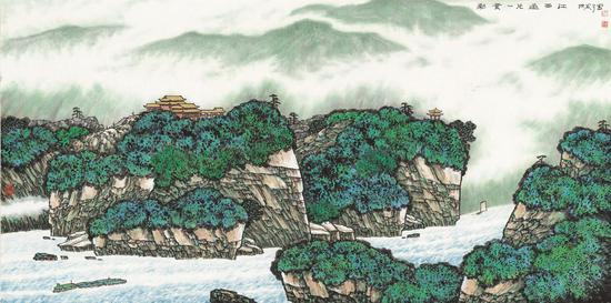 《彩云一片过西江》 69cm×138cm