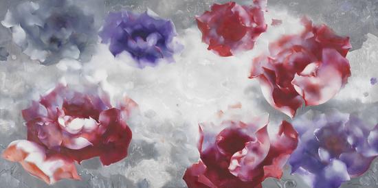 罗发辉/ Luo Fahui|<飘浮的花朵/The flowers in the clouds>|400x200cm|布面油画/Oil on Canvas|2017