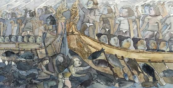 李梅《吴哥壁画之一》水彩120x60公分