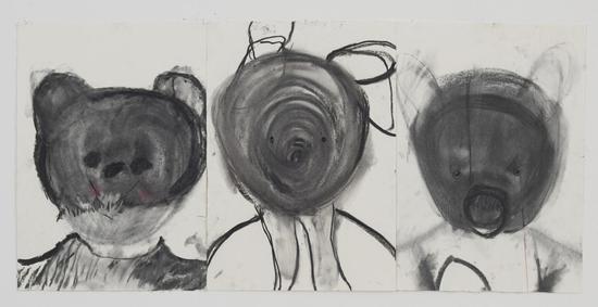 张萌,《Teddy》 ,纸本焦炭,35x50cm, 35x50cm, 35x50cm,2017