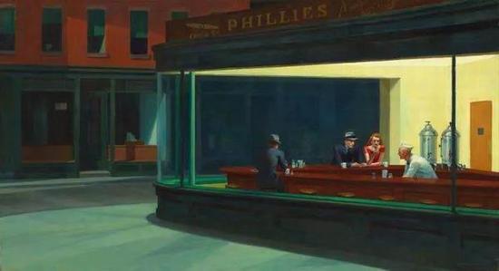 爱德华・霍珀 《夜游者》 1942年 布面油画 芝加哥艺术博物馆藏