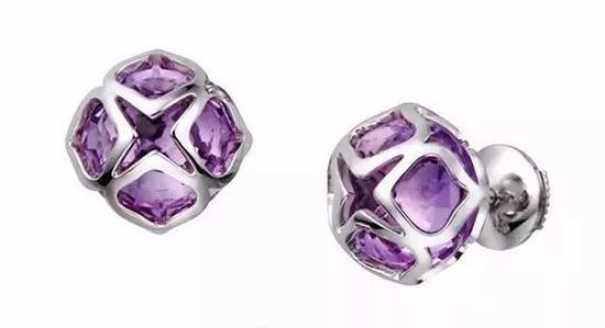萧邦Imperiale莲花造型紫水晶耳饰