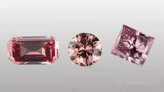 这三颗浓郁的粉红色钻石是表面涂层的结果