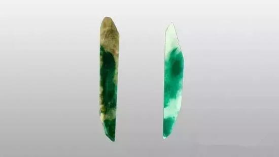 硬玉的这些截面显示了漂白前后的宝石外观