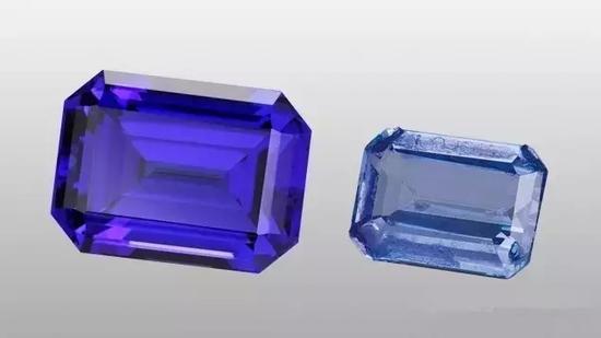 通常坦桑石呈现深紫蓝色(左)颜色偏淡的和其他颜色偏淡的宝石种类有时会涂上油墨状物质,以加深和改善其颜色(右)