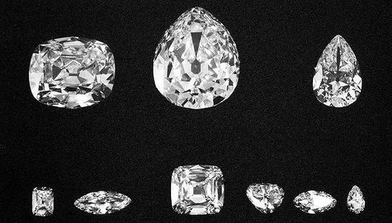 九颗切割后的大钻石