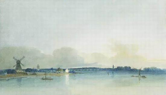 托马斯・吉尔丁 《切尔西的白色小屋》 1800年 纸本水彩