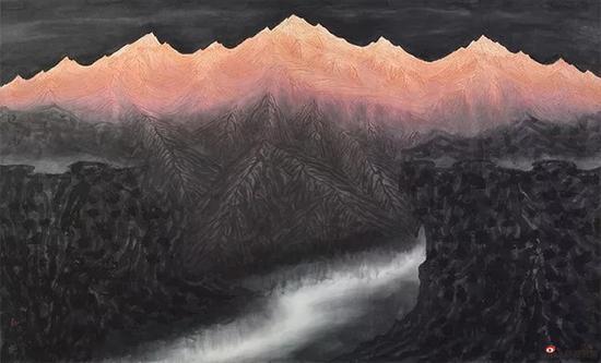 无垠之门 125X200cm,纸本 ,2017年